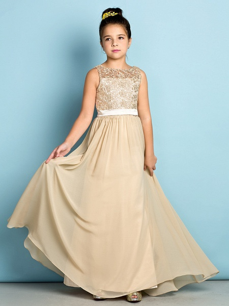 A-Line Scoop Neck Floor Length Chiffon / Lace Junior Bridesmaid Dress With Lace / Natural / Mini Me_3