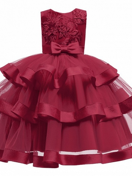 Princess / Ball Gown Knee Length Wedding / Party Flower Girl Dresses - Tulle Sleeveless Jewel Neck With Sash / Ribbon / Bow(S) / Tier_4