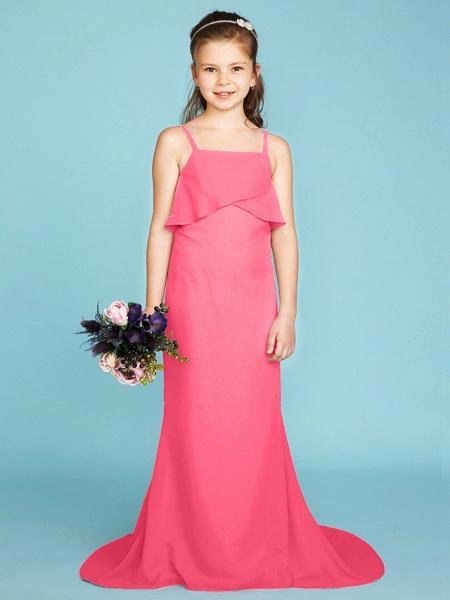 Sheath / Column Spaghetti Strap Sweep / Brush Train Chiffon Junior Bridesmaid Dress With Tiered / Wedding Party / Open Back_23