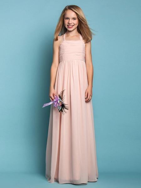 Sheath / Column Halter Neck Floor Length Chiffon Junior Bridesmaid Dress With Ruched / Spring / Summer / Fall / Apple / Hourglass_1