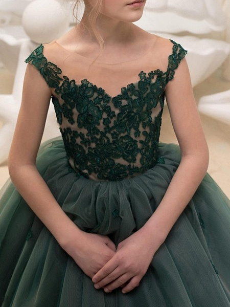Ball Gown Floor Length Pageant Flower Girl Dresses - Polyester Sleeveless Jewel Neck With Lace_3