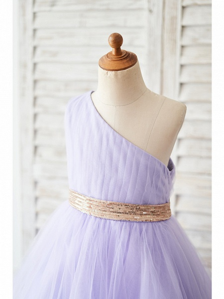 Ball Gown Asymmetrical Wedding / Birthday Flower Girl Dresses - Tulle Sleeveless One Shoulder With Belt_3