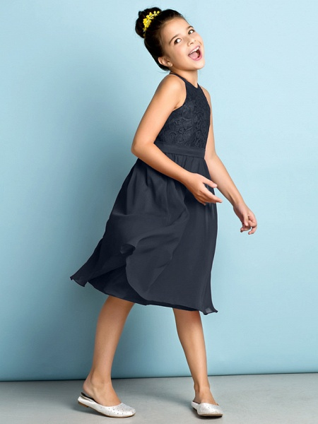 A-Line Jewel Neck Knee Length Chiffon / Lace Junior Bridesmaid Dress With Lace / Natural / Mini Me_45