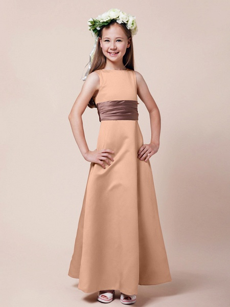 Princess / A-Line Bateau Neck Floor Length Satin Junior Bridesmaid Dress With Sash / Ribbon / Ruched / Spring / Summer / Fall / Winter / Apple_9