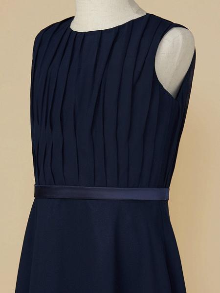 A-Line Jewel Neck Ankle Length Chiffon Junior Bridesmaid Dress With Sash / Ribbon / Ruching_4