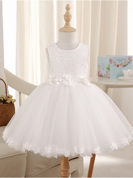 Princess Knee Length Pageant Flower Girl Dresses - Polyester Sleeveless Jewel Neck With Beading_2