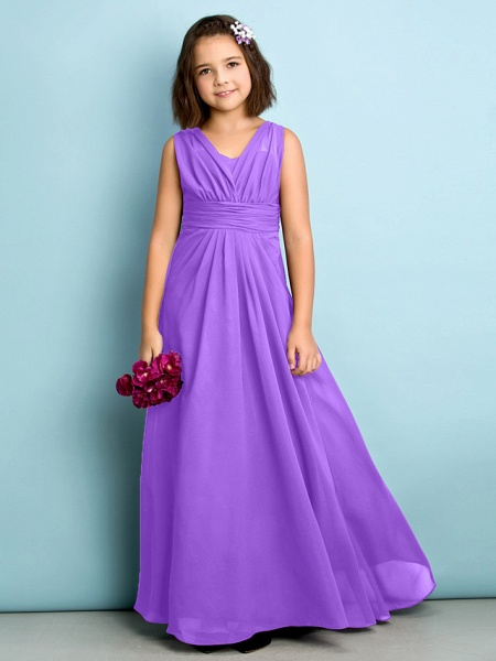 A-Line V Neck Floor Length Chiffon Junior Bridesmaid Dress With Criss Cross / Natural / Mini Me_29