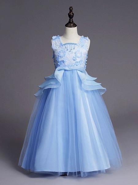 Princess Long Length Wedding / First Communion Flower Girl Dresses - Satin / Tulle Sleeveless Jewel Neck With Belt / Beading / Embroidery_4
