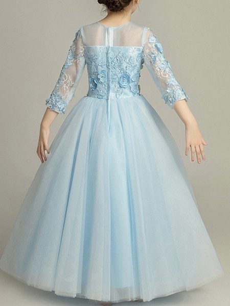 Ball Gown Floor Length Pageant Flower Girl Dresses - Tulle 3/4 Length Sleeve Jewel Neck With Beading / Appliques_4