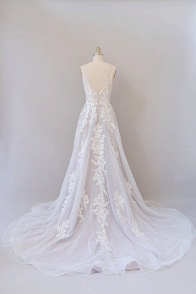 SD1959 Spaghetti Strap Lace Appliques Tulle Wedding Dress_2