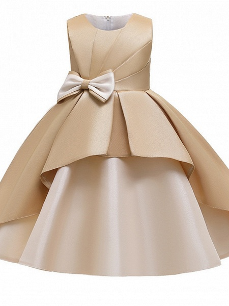 Princess / A-Line Knee Length Wedding / Party Flower Girl Dresses - Mikado Sleeveless Jewel Neck With Bow(S) / Tiered_10