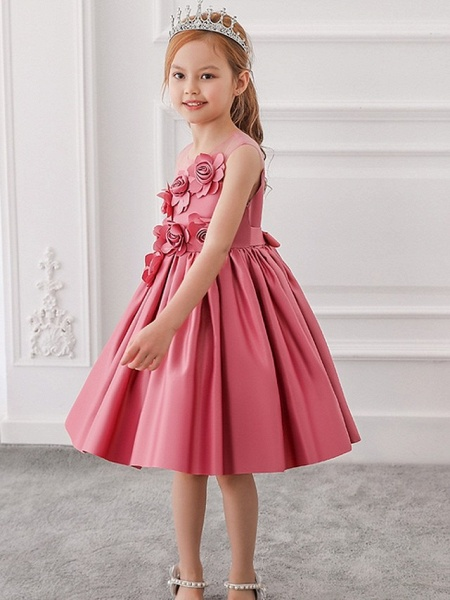 Princess / Ball Gown Knee Length Wedding / Party Flower Girl Dresses - Tulle Sleeveless Jewel Neck With Bow(S) / Pleats / Flower_2