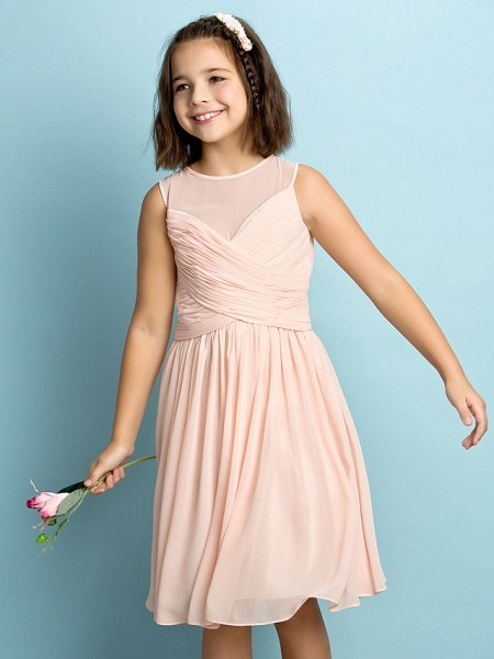 A-Line Jewel Neck Knee Length Chiffon Junior Bridesmaid Dress With Criss Cross / Natural / Mini Me_1