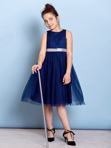 A-Line Jewel Neck Knee Length Tulle Junior Bridesmaid Dress With Sash / Ribbon / Sequin / Draping / Natural_2