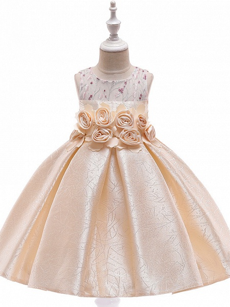 A-Line Knee Length Wedding / Birthday / Pageant Flower Girl Dresses - Cotton Blend Sleeveless Jewel Neck With Petal / Sash / Ribbon / Trim_1