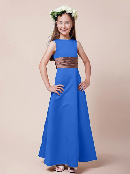 Princess / A-Line Bateau Neck Floor Length Satin Junior Bridesmaid Dress With Sash / Ribbon / Ruched / Spring / Summer / Fall / Winter / Apple_30