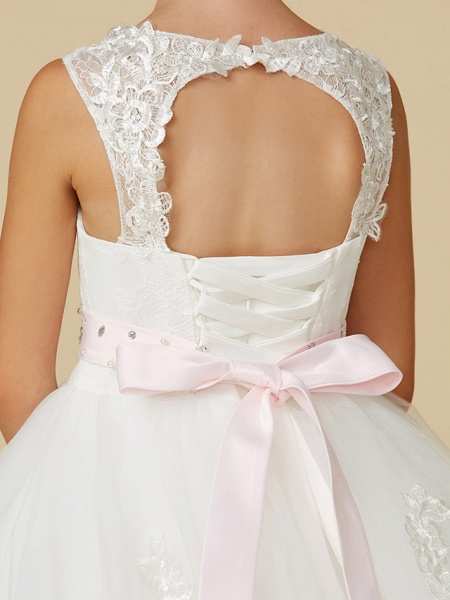 Princess Sweep / Brush Train Wedding / First Communion Flower Girl Dresses - Lace / Tulle Sleeveless Jewel Neck With Belt / Beading / Appliques_6