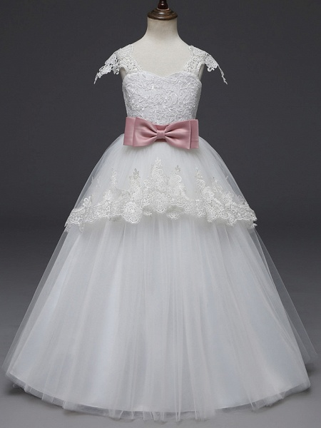Princess Long Length Wedding / First Communion Flower Girl Dresses - Lace / Tulle Cap Sleeve Scoop Neck With Belt / Appliques_1