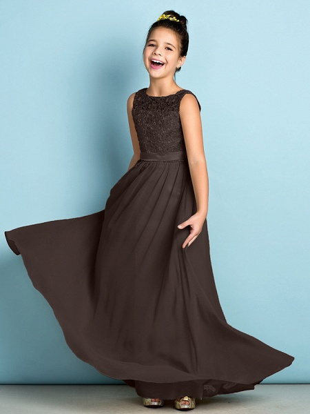 A-Line Scoop Neck Floor Length Chiffon / Lace Junior Bridesmaid Dress With Lace / Natural / Mini Me_25