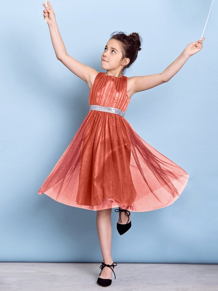 A-Line Jewel Neck Knee Length Tulle Junior Bridesmaid Dress With Sash / Ribbon / Sequin / Draping / Natural_26