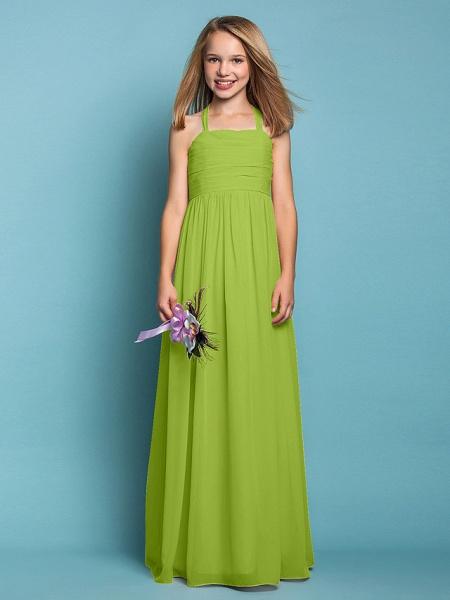 Sheath / Column Halter Neck Floor Length Chiffon Junior Bridesmaid Dress With Ruched / Spring / Summer / Fall / Apple / Hourglass_28