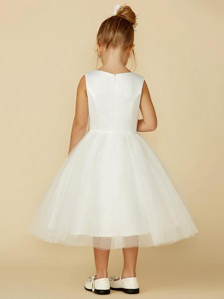 Princess Tea Length Wedding / First Communion Flower Girl Dresses - Satin / Tulle Sleeveless Jewel Neck With Lace_2