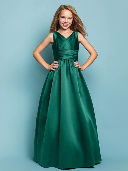 Princess / A-Line V Neck Floor Length Satin Junior Bridesmaid Dress With Sash / Ribbon / Criss Cross / Spring / Summer / Fall / Apple / Hourglass_25