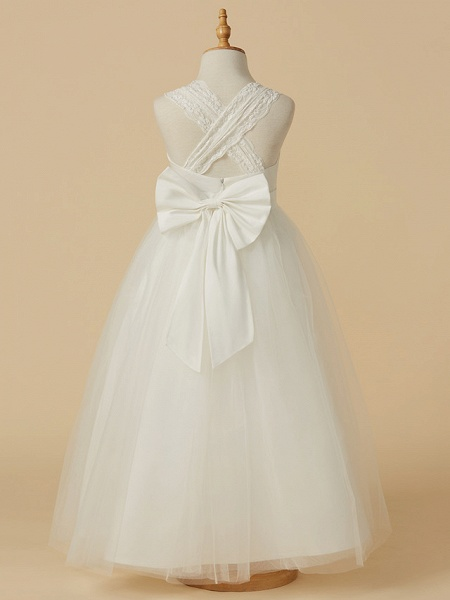Princess Floor Length Wedding / First Communion Flower Girl Dresses - Lace / Satin / Tulle Sleeveless Halter Neck With Bow(S)_2