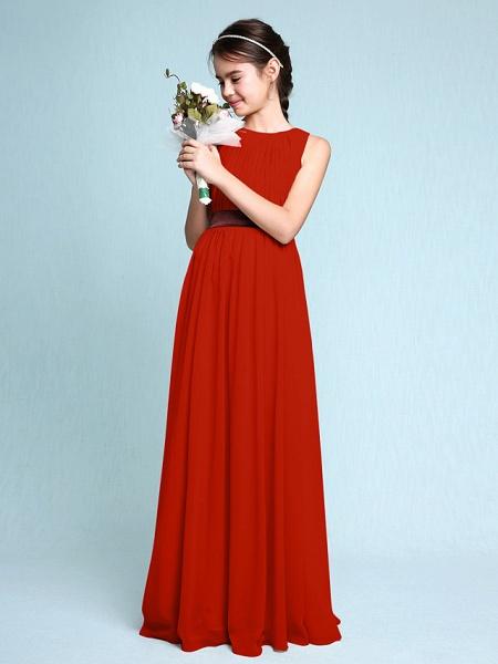 Sheath / Column Scoop Neck Floor Length Chiffon Junior Bridesmaid Dress With Draping / Natural_15