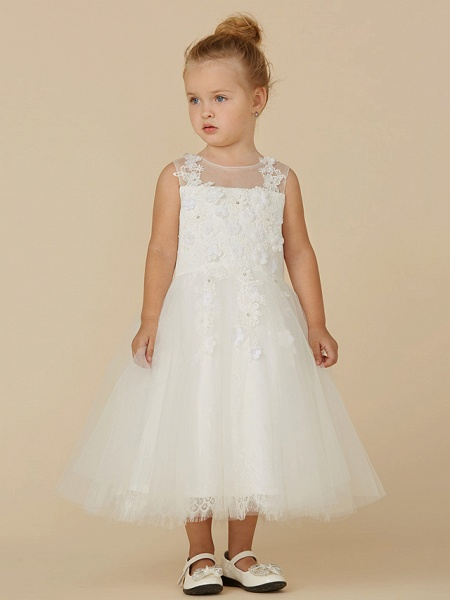 Princess Tea Length Wedding / First Communion Flower Girl Dresses - Lace / Tulle Sleeveless Illusion Neck With Beading / Appliques_1