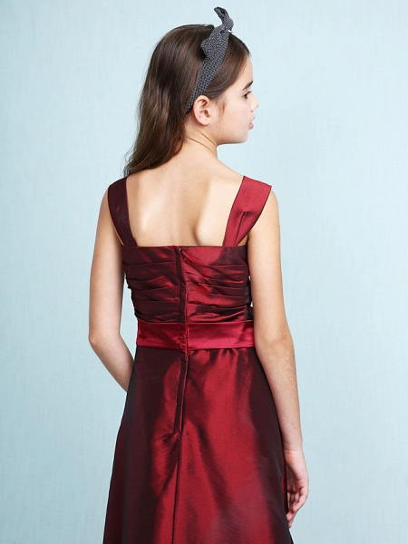 Princess / A-Line Straps Floor Length Taffeta Junior Bridesmaid Dress With Sash / Ribbon / Bow(S) / Ruched / Spring / Fall / Winter / Wedding Party / Natural_10