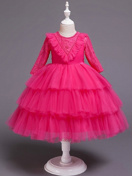 Princess / Ball Gown Knee Length Wedding / Party Flower Girl Dresses - Tulle Long Sleeve Jewel Neck With Bow(S) / Beading / Embroidery_6