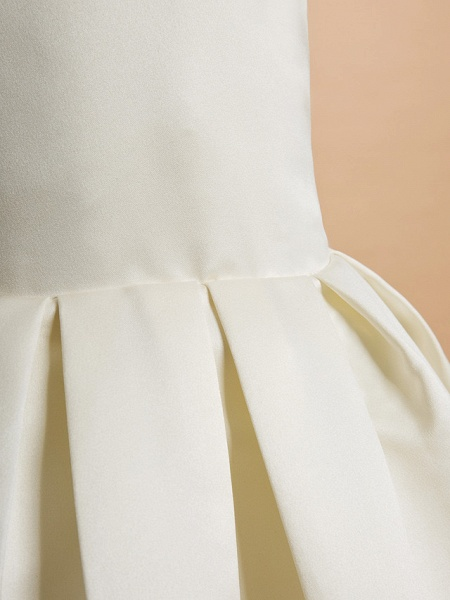 A-Line Ankle Length Wedding / First Communion Flower Girl Dresses - Satin Sleeveless V Neck With Bow(S)_6
