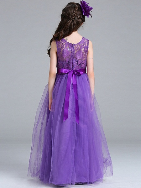 Princess / A-Line Round Floor Length Lace / Tulle Junior Bridesmaid Dress With Bow(S)_10