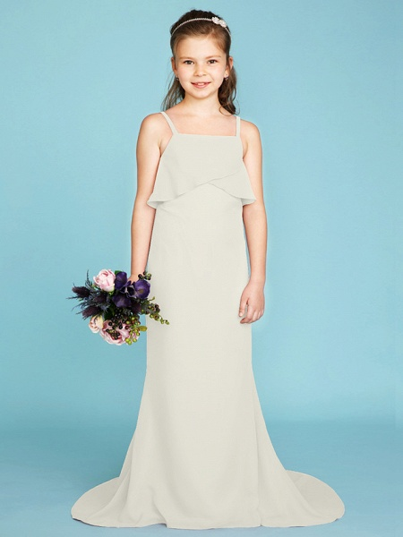 Sheath / Column Spaghetti Strap Sweep / Brush Train Chiffon Junior Bridesmaid Dress With Tiered / Wedding Party / Open Back_41