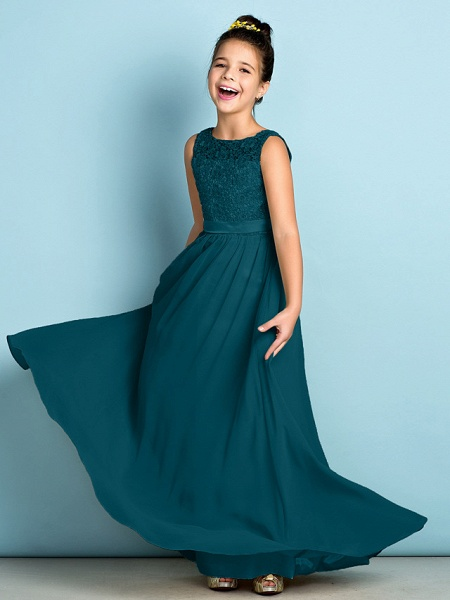 A-Line Scoop Neck Floor Length Chiffon / Lace Junior Bridesmaid Dress With Lace / Natural / Mini Me_36
