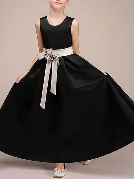 A-Line Ankle Length Pageant Flower Girl Dresses - Polyester Sleeveless Jewel Neck With Bow(S)_2