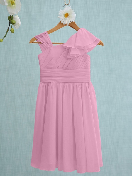 Sheath / Column Straps Knee Length Chiffon Junior Bridesmaid Dress With Ruffles / Side Draping / Natural_10