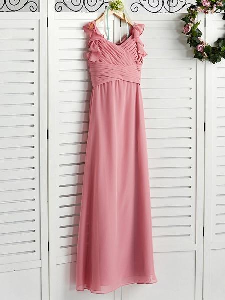 A-Line Boat Neck Maxi Chiffon Junior Bridesmaid Dress With Cascading Ruffles / Ruching_3
