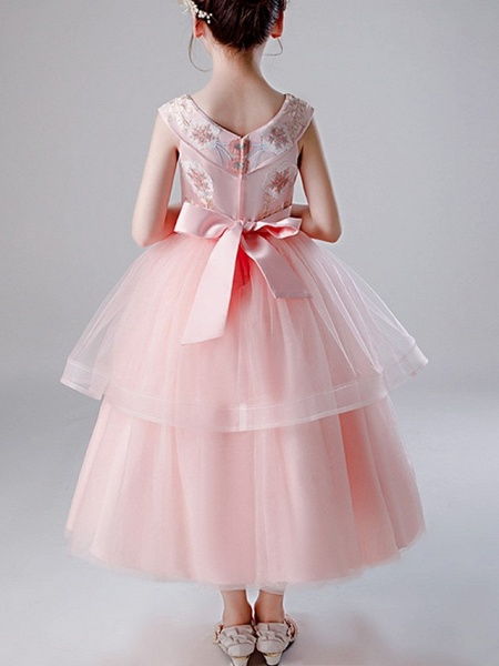 A-Line Ankle Length Pageant Flower Girl Dresses - Tulle Sleeveless V Neck With Bow(S) / Tier / Embroidery_3