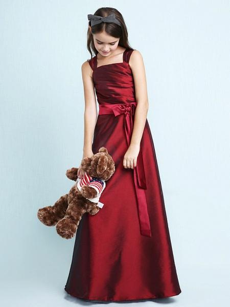 Princess / A-Line Straps Floor Length Taffeta Junior Bridesmaid Dress With Sash / Ribbon / Bow(S) / Ruched / Spring / Fall / Winter / Wedding Party / Natural_4