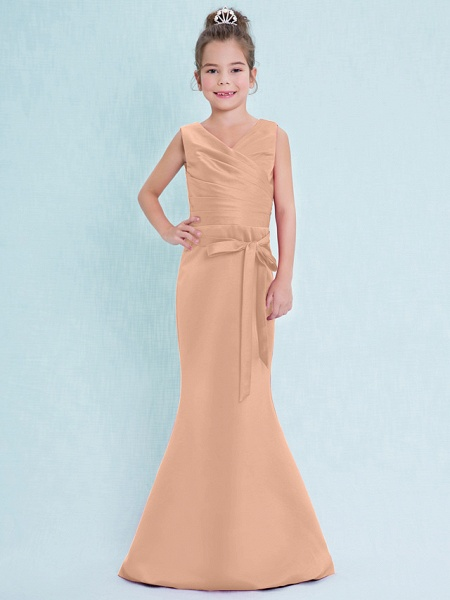 Mermaid / Trumpet V Neck Floor Length Satin Junior Bridesmaid Dress With Criss Cross / Natural_13