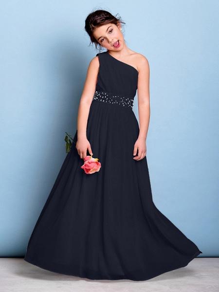 A-Line One Shoulder Floor Length Chiffon Junior Bridesmaid Dress With Sash / Ribbon / Beading / Side Draping / Natural_36