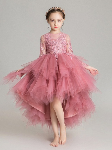 Ball Gown Floor Length First Communion Flower Girl Dresses - Chiffon Sleeveless Jewel Neck With Tier / Crystals / Rhinestones_9