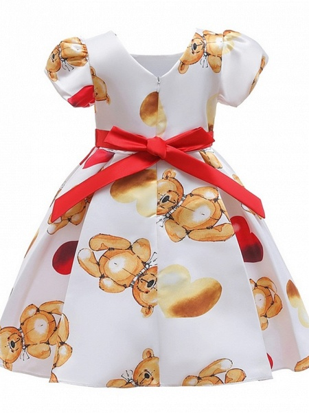 Ball Gown Knee Length Pageant Flower Girl Dresses - Polyester Short Sleeve Jewel Neck With Bow(S)_5