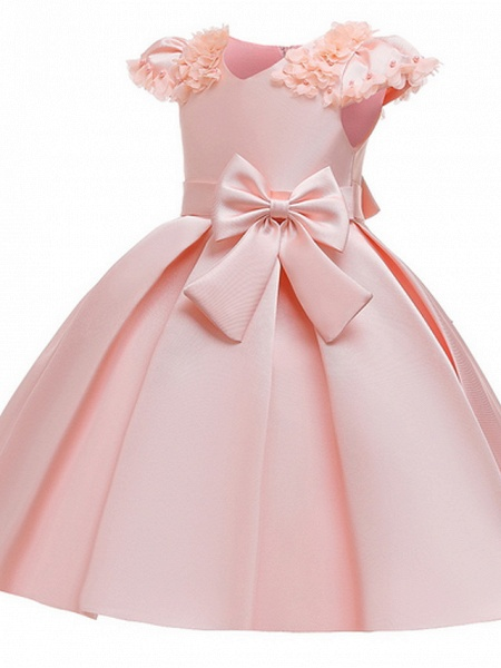 Ball Gown Ankle Length Pageant Flower Girl Dresses - Polyester Short Sleeve Jewel Neck With Bow(S) / Appliques_5
