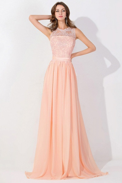 Lace Chiffon Long A-line Backless Evening Gown