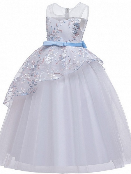 Princess / Ball Gown Floor Length Wedding / Party Flower Girl Dresses - Tulle Sleeveless Illusion Neck With Sash / Ribbon / Bow(S) / Embroidery_8