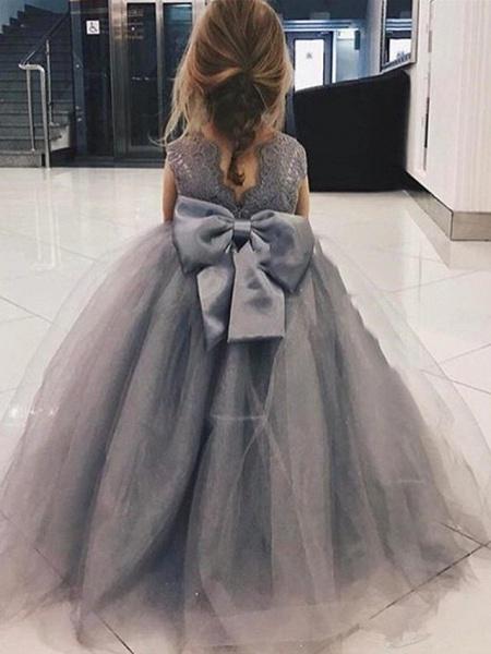 A-Line Sweep / Brush Train Wedding Flower Girl Dresses - Satin / Taffeta / Tulle Sleeveless Jewel Neck With Bow(S) / Tier / Solid_2