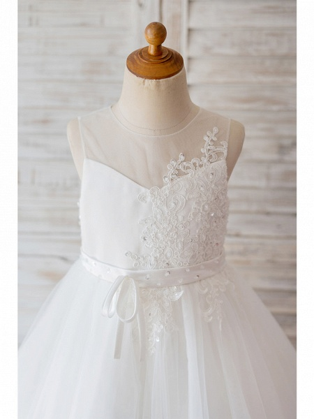 Ball Gown Knee Length Wedding / Birthday Flower Girl Dresses - Lace / Tulle Sleeveless Jewel Neck With Belt / Bow(S) / Buttons_3